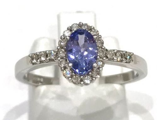 Tanzanite And Diamond White Gold Cluster Ring